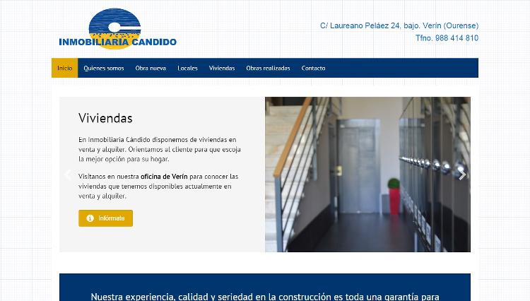 Páxina web Inmobiliaria Cándido - Sendadixital