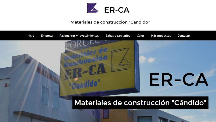 Página web ERCA Materiales de construcción Cándido en Verín. Sendadixital