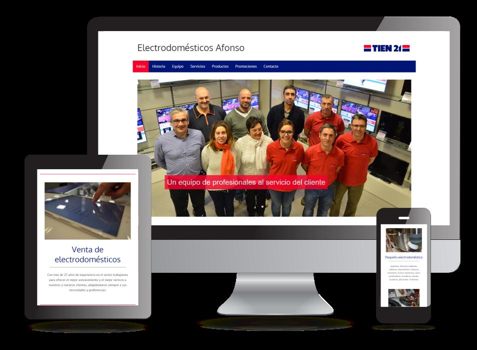 Página web de Electrodomésticos Afonso - Sendadixital