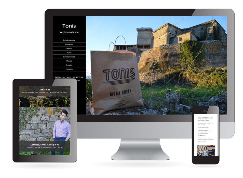 Página web de Tonis Moda Verín. Sendadixital