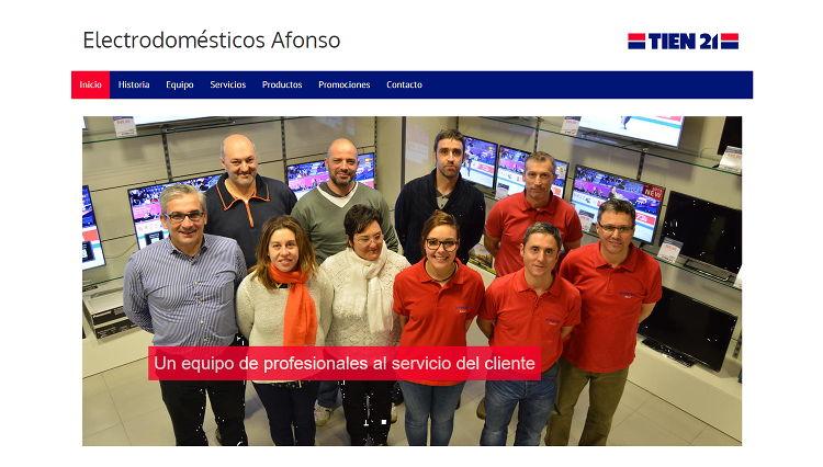 Página web Electrodomésticos Afonso. Sendadixital