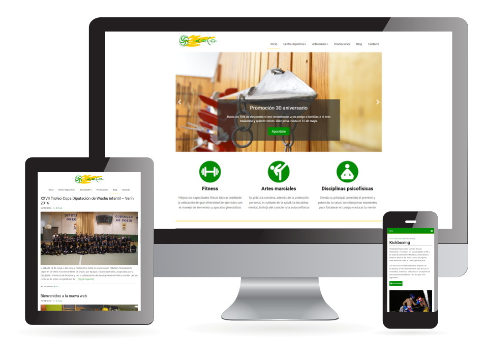 Página web Centro deportivo Arco Verín