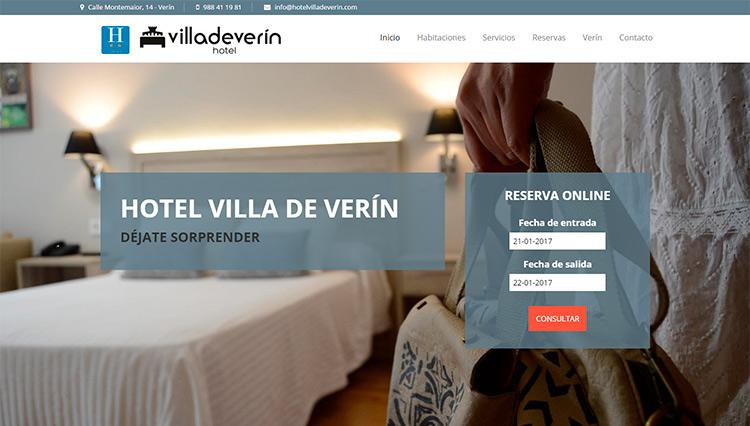 Página web Hotel Villa de Verín - Sendadixital