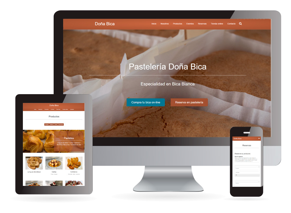 Diseño web pastelería Doña Bica Verín - Sendadixital