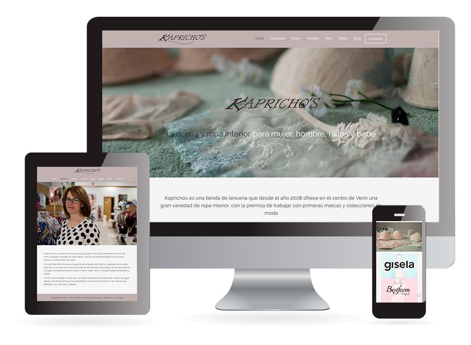 Página web Lencería Kaprichos Verín - Sendadixital