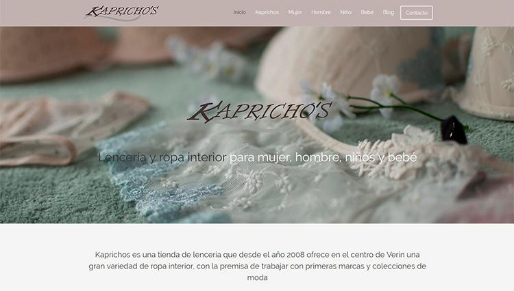 Página web Lencería Kaprichos Verin - Sendadixital