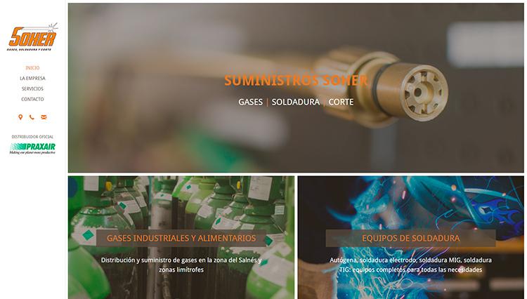 Página web Suministros Soher Vilagarcía de Arousa - Sendadixital