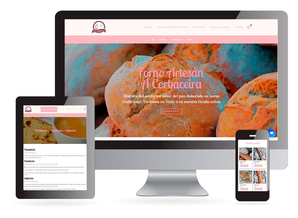 Página web Pastelería panadería A Corbaceira Verín