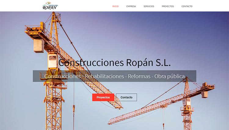 Páxina web Construcciones Ropán - Sendadixital