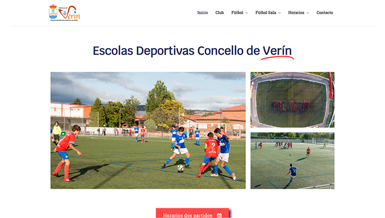 Página web Escolas deportivas Concello de Verín - Sendadixital