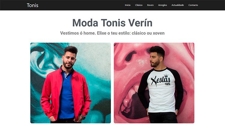 Página web Tonis Moda Verín. Sendadixital